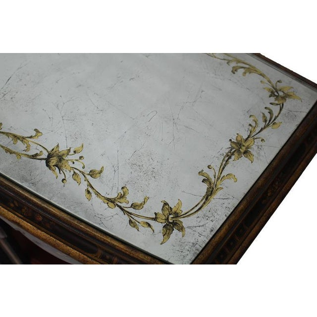 1950s Mirrored Silver Gilt Bow Front Hand Decorated Console Cabinet Credenza Chinoiser For Sale - Image 5 of 8