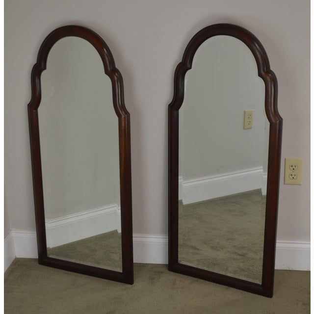 High Quality American Made Pair of Solid Mahogany Frame Beveled Mirrors by Hickory Chair - Not Labeled