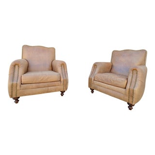 1970s Vintage Italian Club Leather Chairs - A Pair For Sale