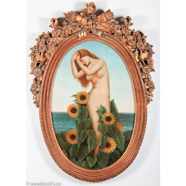 A very large and ornate contemporary oil on canvas depicting a female nude in the art nouveau style, standing among...
