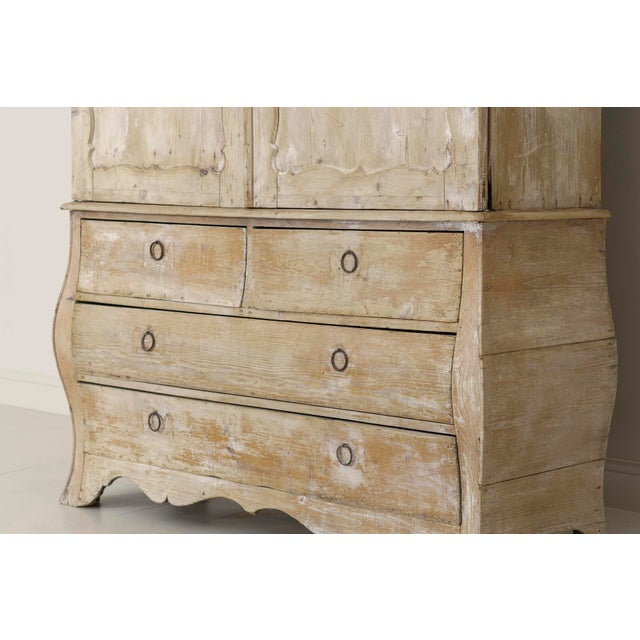 White 19th Century French Buffet Deux Corps Linen Press Cabinet in Original Patina For Sale - Image 8 of 10