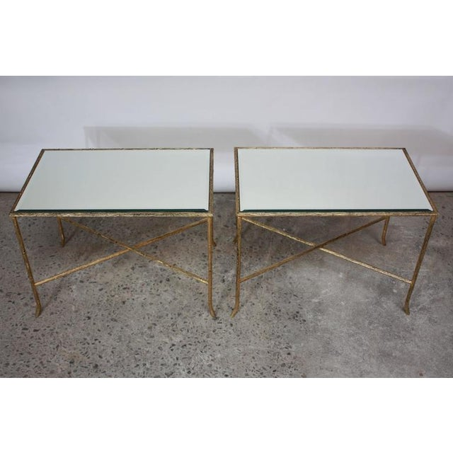 Pair of Italian Gilded X-Base Side Tables with Mirror Tops - Image 2 of 10