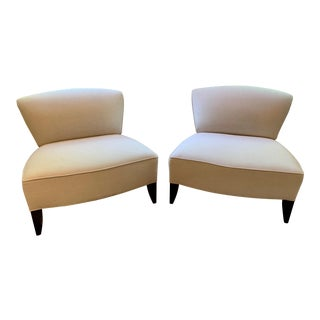 Traditional Todd Hase Govida Mohair Amelia Slipper Chairs - a Pair For Sale