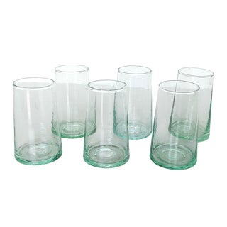 Moroccan Water Blown Recycled Glass - Set of 6 For Sale