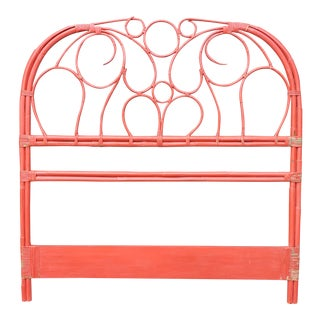 Coral Painted Rattan Headboard For Sale