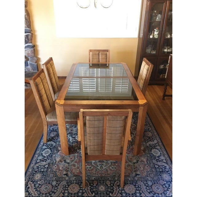 Vintage Oak Glass Top Dining Suite - Image 3 of 11