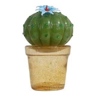 1990s Vintage Italian Green Murano Glass Small Cactus Plant With Blue Flower For Sale