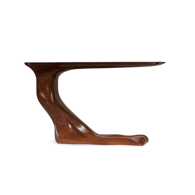 Frolic Walnut Finish Console Table With Base For Sale - Image 9 of 9