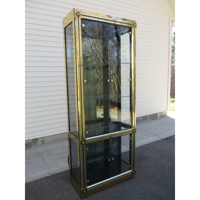 1970s Mastercraft Brass and Black Lacquer Display Case or Vitrine For Sale - Image 5 of 12