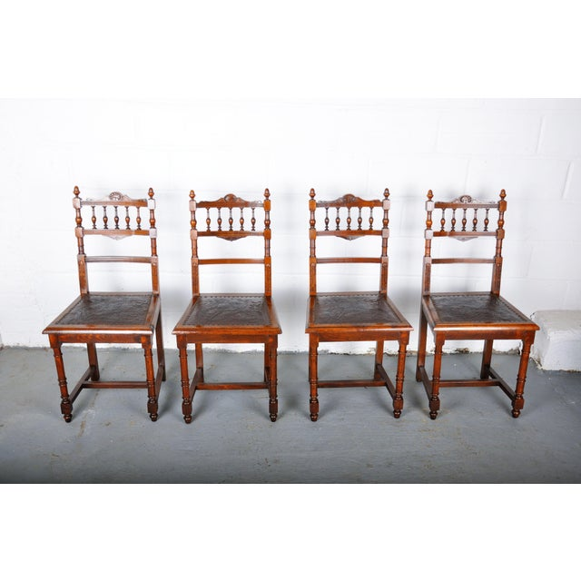 Antique Set of 4 French Henri II Oak Dining Chairs For Sale - Image 13 of 13