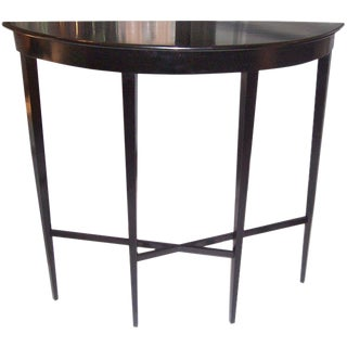 Custom Ebonized Demilune Console on Tapered Legs For Sale