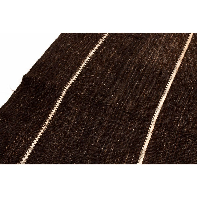 Mid-Century Modern Vintage Mid-Century Brown Striped Kilim Wool Rug - 6′9″ × 10′ For Sale - Image 3 of 6
