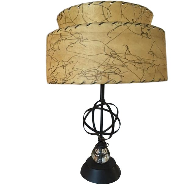 Atomic Mid-Century Lamp With Shade - Image 1 of 9