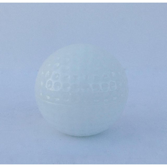 Glass Milk Glass Golf Ball-Shaped Lidded Box For Sale - Image 7 of 7