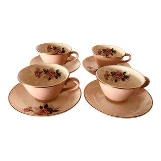 Vintage Mid-Century Pink Rose Pattern Service for 4 Teacups & Saucers For Sale