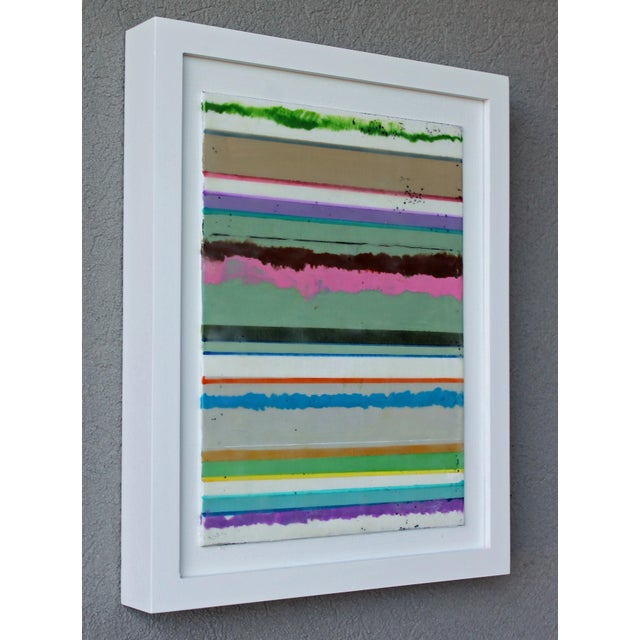 """Wood Original Encaustic Mixed Media Painting by Gina Cochran """"Confections No. 34"""" - Stripes For Sale - Image 7 of 9"""