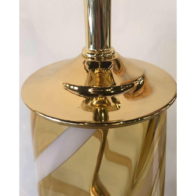 Hollywood Regency Vintage Murano Italian Amber Swirl Glass Brass Lucite Table Lamps - A Pair For Sale - Image 3 of 13