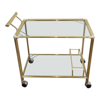 Midcentury Modern Gilt and Silvered Brass Bar Cart