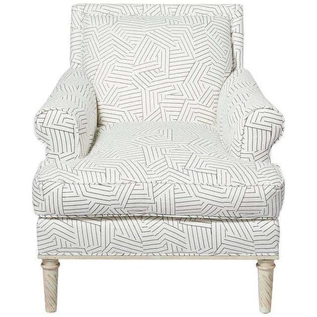 Schumacher Jansen Deconstructed Stripe Maplewood-Legged Sock Arm Chair For Sale - Image 9 of 9