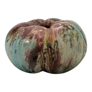 Melon Shaped Raku Studio Pottery Vase by Ken Shores For Sale
