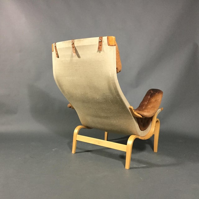 """1970s Scandinavian Modern Bruno Mathsson """"Pernilla"""" Lounge Chair + Ottoman - 2 Pieces For Sale In New York - Image 6 of 14"""