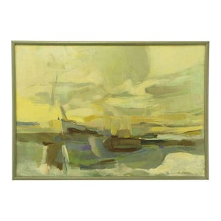 1964 Abstract Seascape Oil Painting By B. Levin For Sale