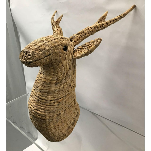 Seagrass Woven Stag Head For Sale - Image 4 of 7