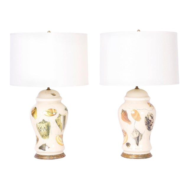 Decoupage Sea Shell Table Lamps - A Pair For Sale