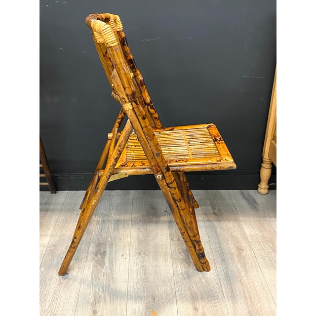 Stunning Set of 4 Vintage Mid Century Modern Tortoise Bamboo Folding Chairs For Sale In New York - Image 6 of 8