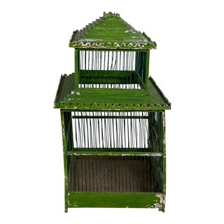 Green Painted Bird Cage, South East Asia Circa 1900 For Sale