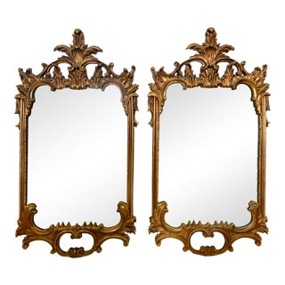 Baroque Style Carved Guilt Wood Mirrors - a Pair For Sale