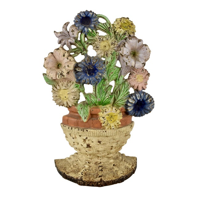 1930s Hubley Cast Iron Basket of Flowers Doorstop For Sale