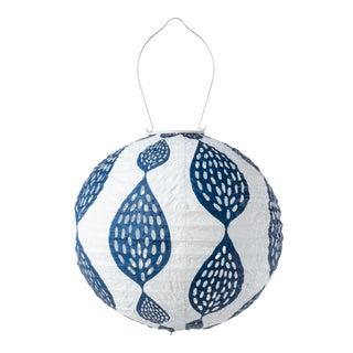 Stella Outdoor Solar Globe Lantern in Indigo Leaf For Sale