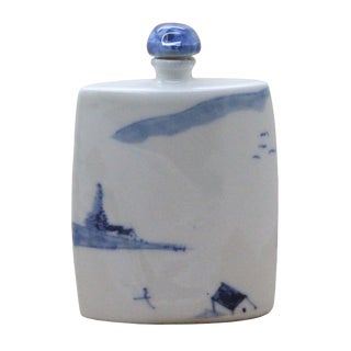 Ceramic Curve Shape Blue and White Snuff Bottle Collection With Scenery Painting Art For Sale