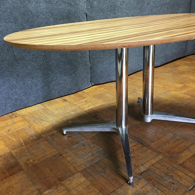 Crate & Barrel Modern Round Dining Table - Image 5 of 10