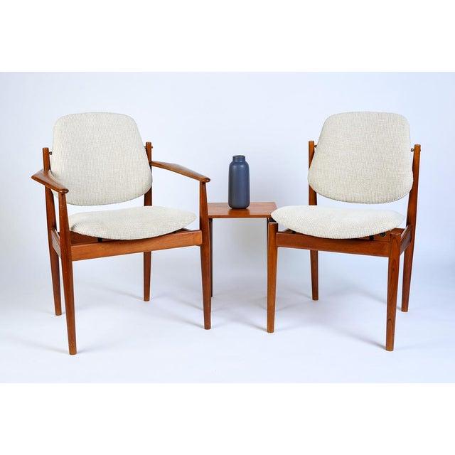 Danish Modern Arne Vodder Arm Chairs - Era Mid Century with tilting back Refurbished in a plush soft corduroy