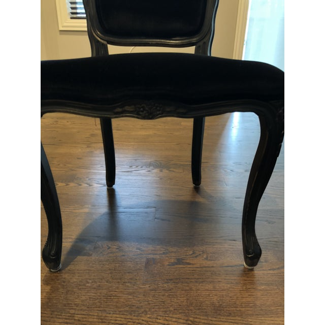 French Traditional French Black Velvet Side Chairs - a Pair For Sale - Image 3 of 10