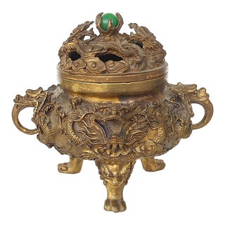 Antique Bronze Chinese Incense Burner-Marked-Dragons/Clouds/Creatures For Sale