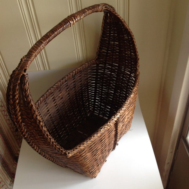 Rustic Woven Wicker Basket For Sale - Image 4 of 9