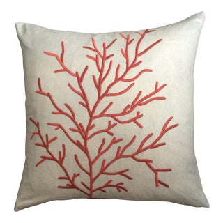 Coastal Coral Embroidered Pillow For Sale