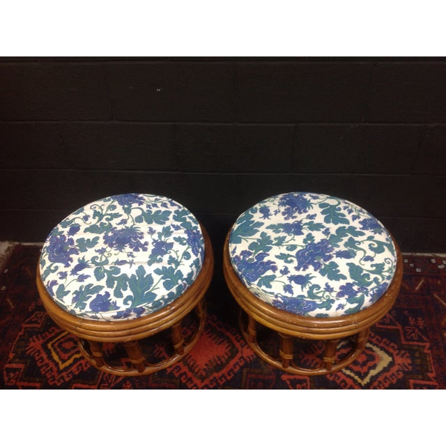 Vintage Bamboo Ottomans - A Pair - Image 4 of 7