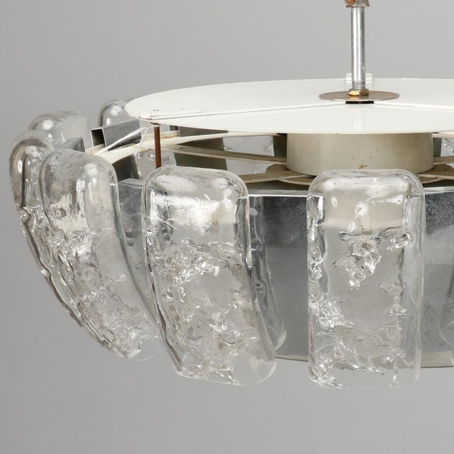 Mid-Century Modern Kalmar Mid Century Icicle Glass Flush Mount Fixture For Sale - Image 3 of 9