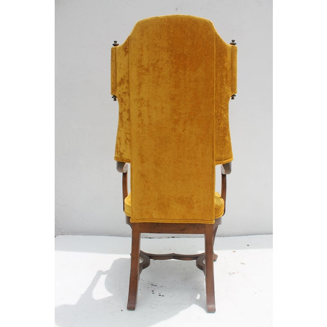 Jim Peed For Drexel Brass Final Accent Tall Wingback Chair - Image 6 of 11