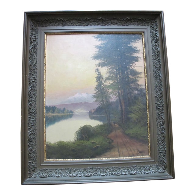 John J Englehart J Hart Sunset on Lake Tahoe California Antique Landscape Painting For Sale