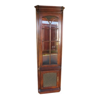 "Statton Oldtowne Cherry Chippendale Style 2 Door Lighted Corner Cabinet ""B"" For Sale"