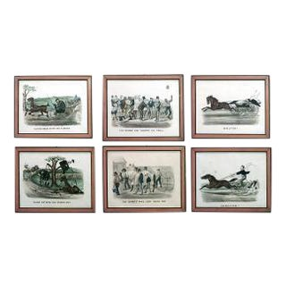 Set of 6 American Victorian maple framed 19th Century colored lithographs