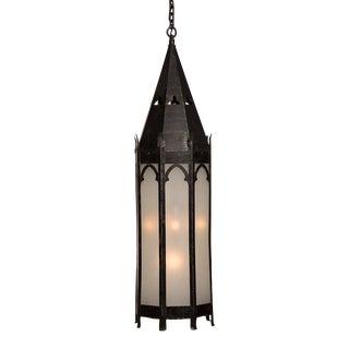 Tall Gothic Style Iron Lantern, Strasbourg, France c. 1895 For Sale