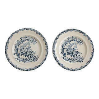 Antique French Cottage Blue and White Floral Porcelain Plates - a Pair