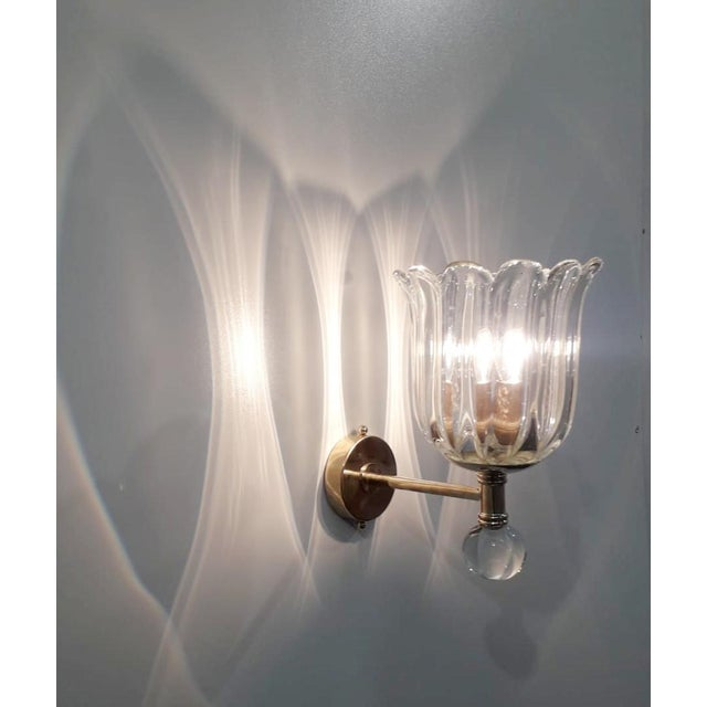 Italian Two Pairs of Scalloped Sconces by Barovier E Toso For Sale - Image 3 of 7