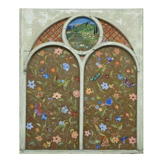 Large Reverse Painting on Vintage Church Window For Sale